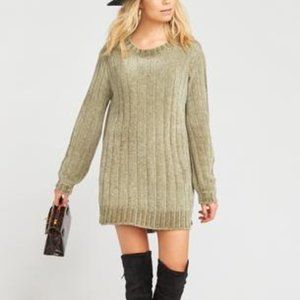 Show Me Your Mumu Chenille Green Sweater Dress